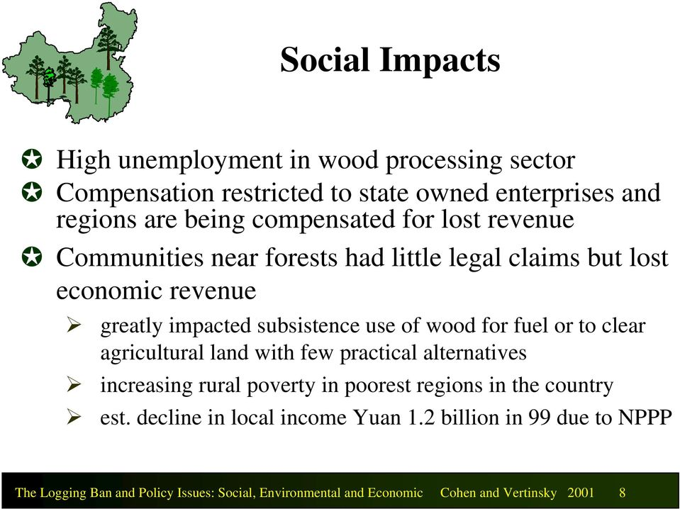 wood for fuel or to clear agricultural land with few practical alternatives increasing rural poverty in poorest regions in the country est.