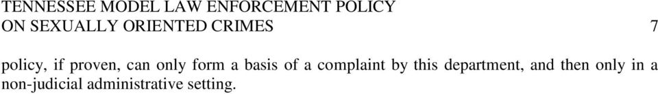 complaint by this department, and then