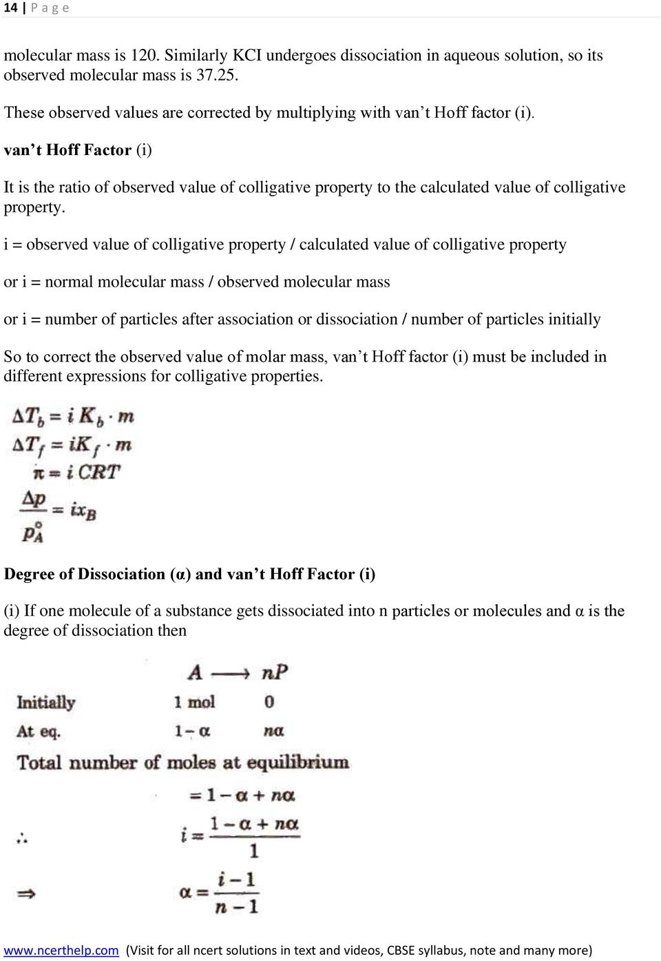 van t Hoff Factor (i) It is the ratio of observed value of colligative property to the calculated value of colligative property.