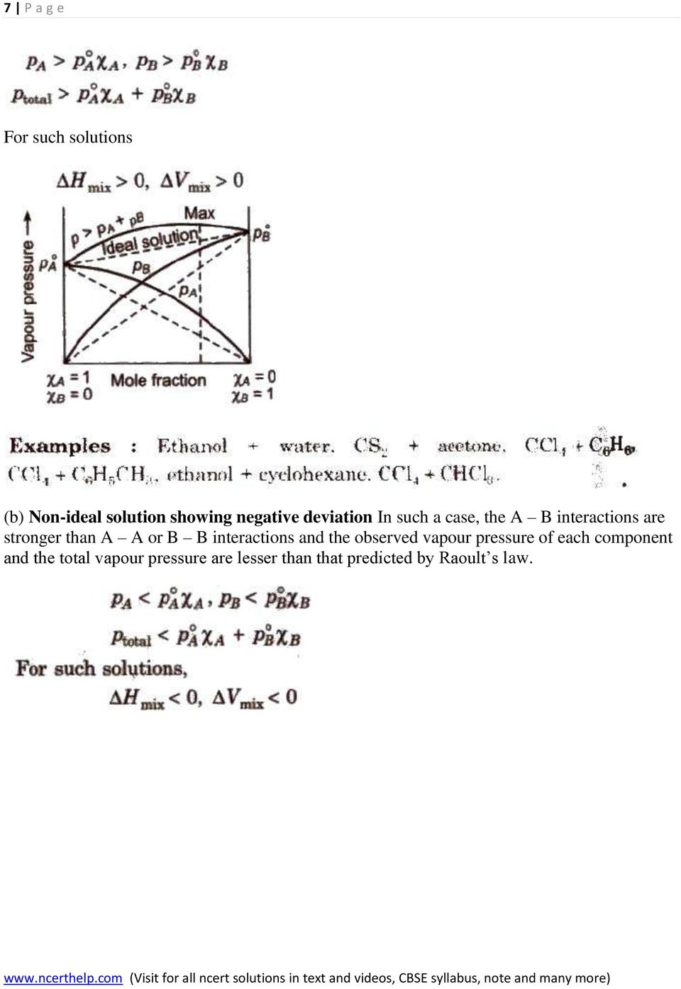 B B interactions and the observed vapour pressure of each component and