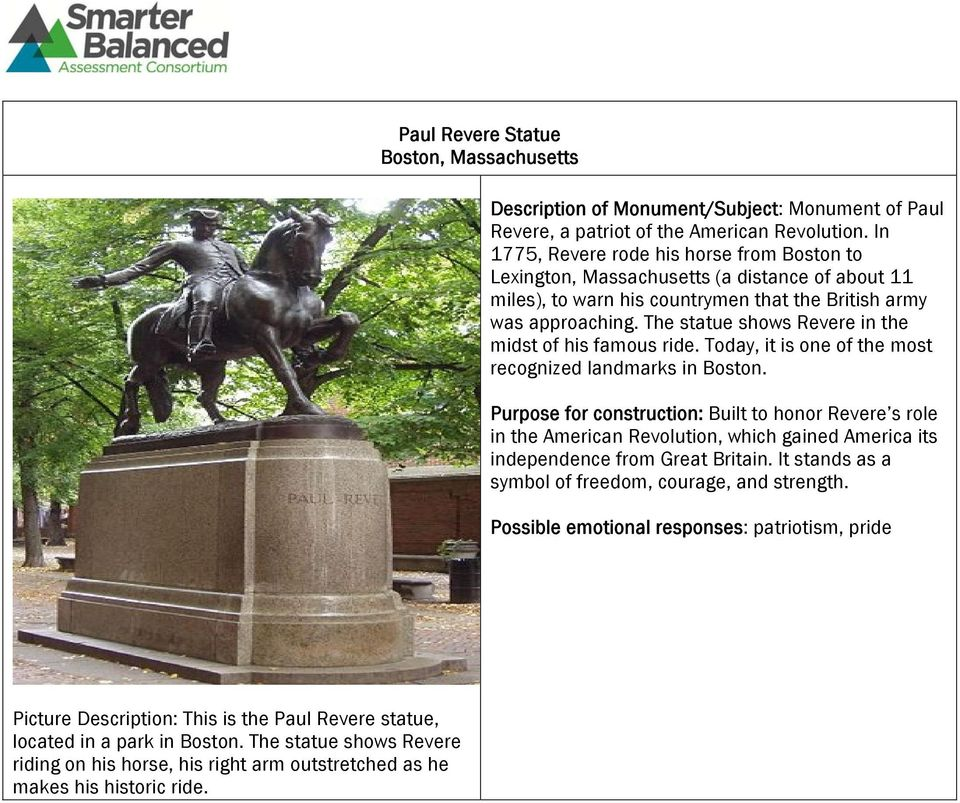 The statue shows Revere in the midst of his famous ride. Today, it is one of the most recognized landmarks in Boston.