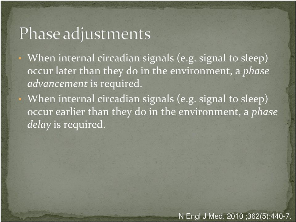 signal to sleep) occur later than they do in the environment, a phase
