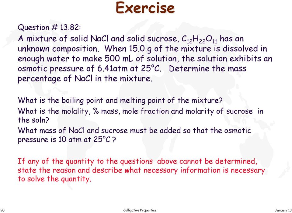 Determine the mass percentage of NaCl in the mixture. What is the boiling point and melting point of the mixture?