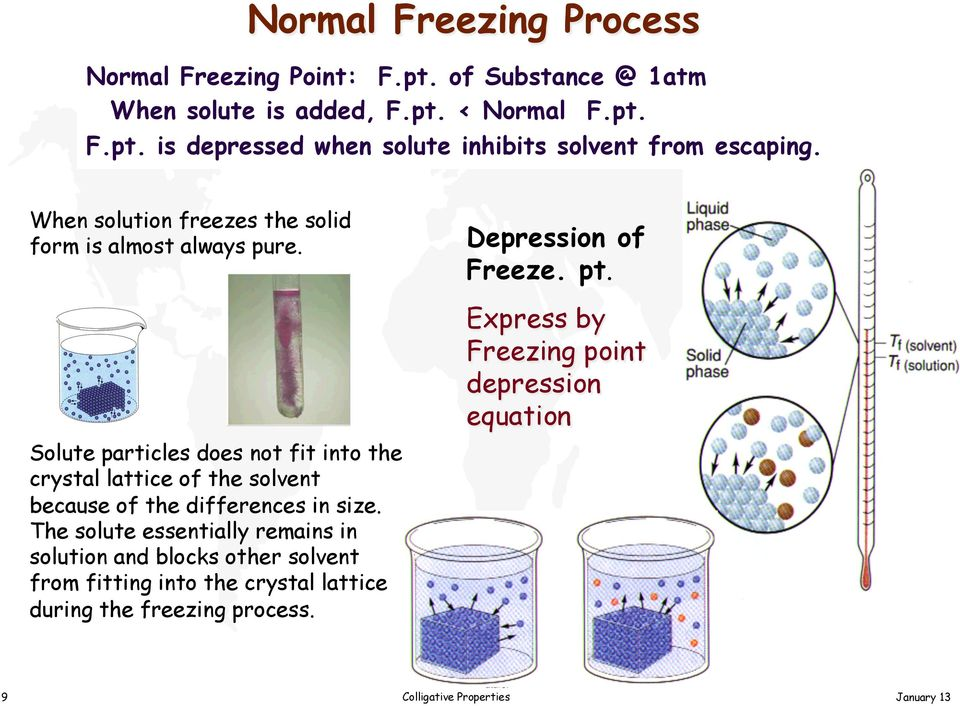 The solution became more concentrated as more and more solvent was frozen out, and the resulting solution had a lower and lower freezing point.