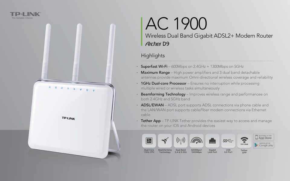 Processor Ensures no interruption while processing multiple wired or wireless tasks simultaneously Beamforming Technology Improves wireless range and performancee on both 2.