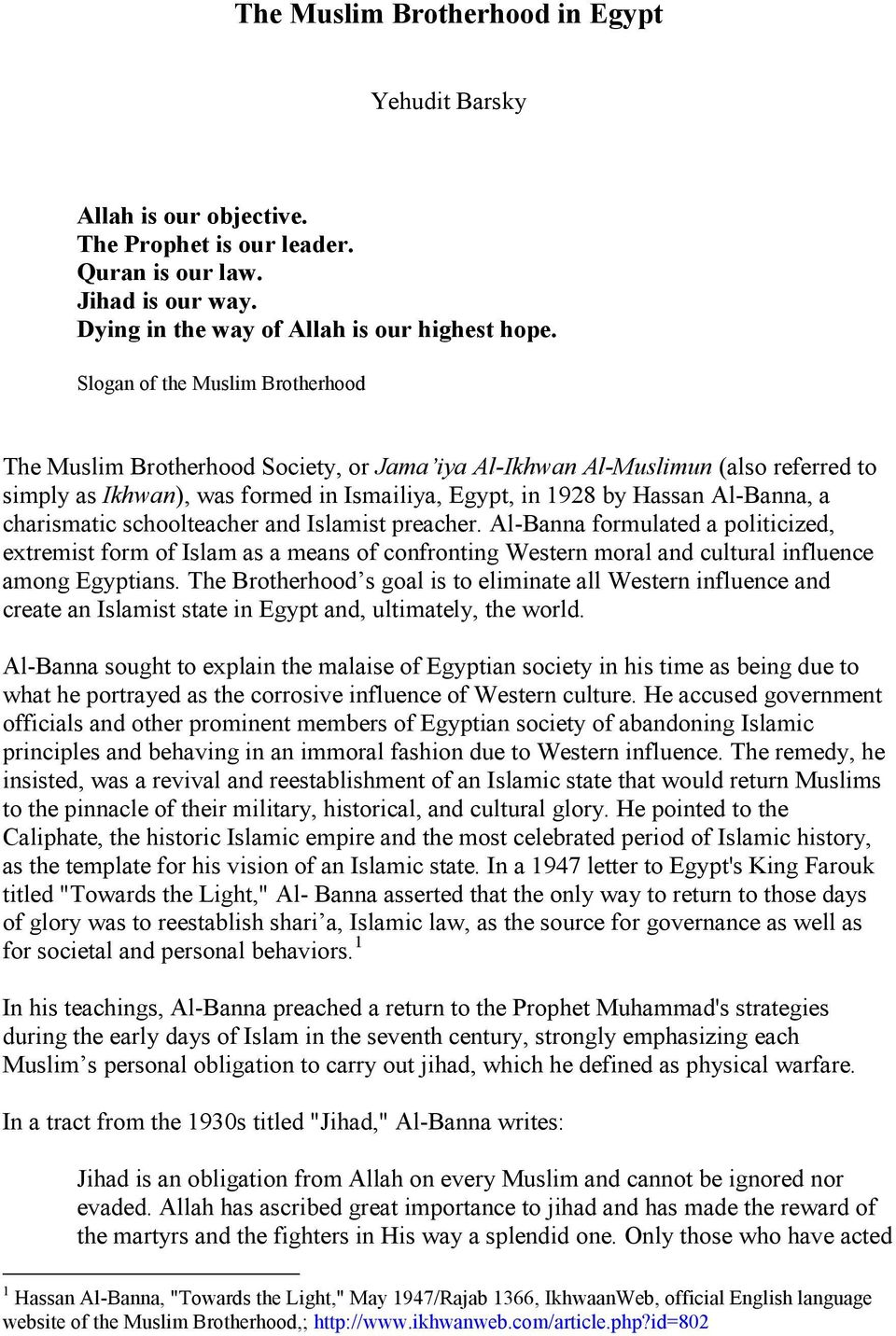 essay on muslim brotherhood in egypt