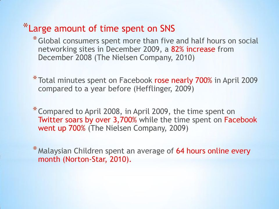 year before (Hefflinger, 2009) *Compared to April 2008, in April 2009, the time spent on Twitter soars by over 3,700% while the time spent