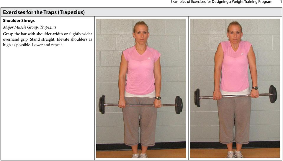 Group: Trapezius Grasp the bar with shoulder-width or slightly wider