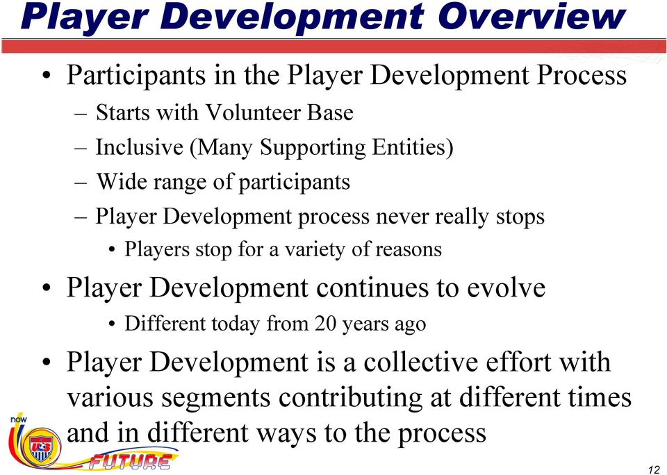 for a variety of reasons Player Development continues to evolve Different today from 20 years ago Player