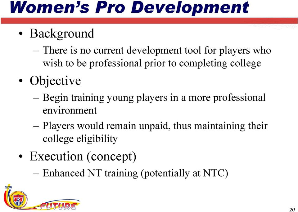 players in a more professional environment Players would remain unpaid, thus