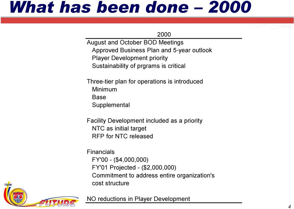 Facility Development included as a priority NTC as initial target RFP for NTC released Financials FY'00 - ($4,000,000)