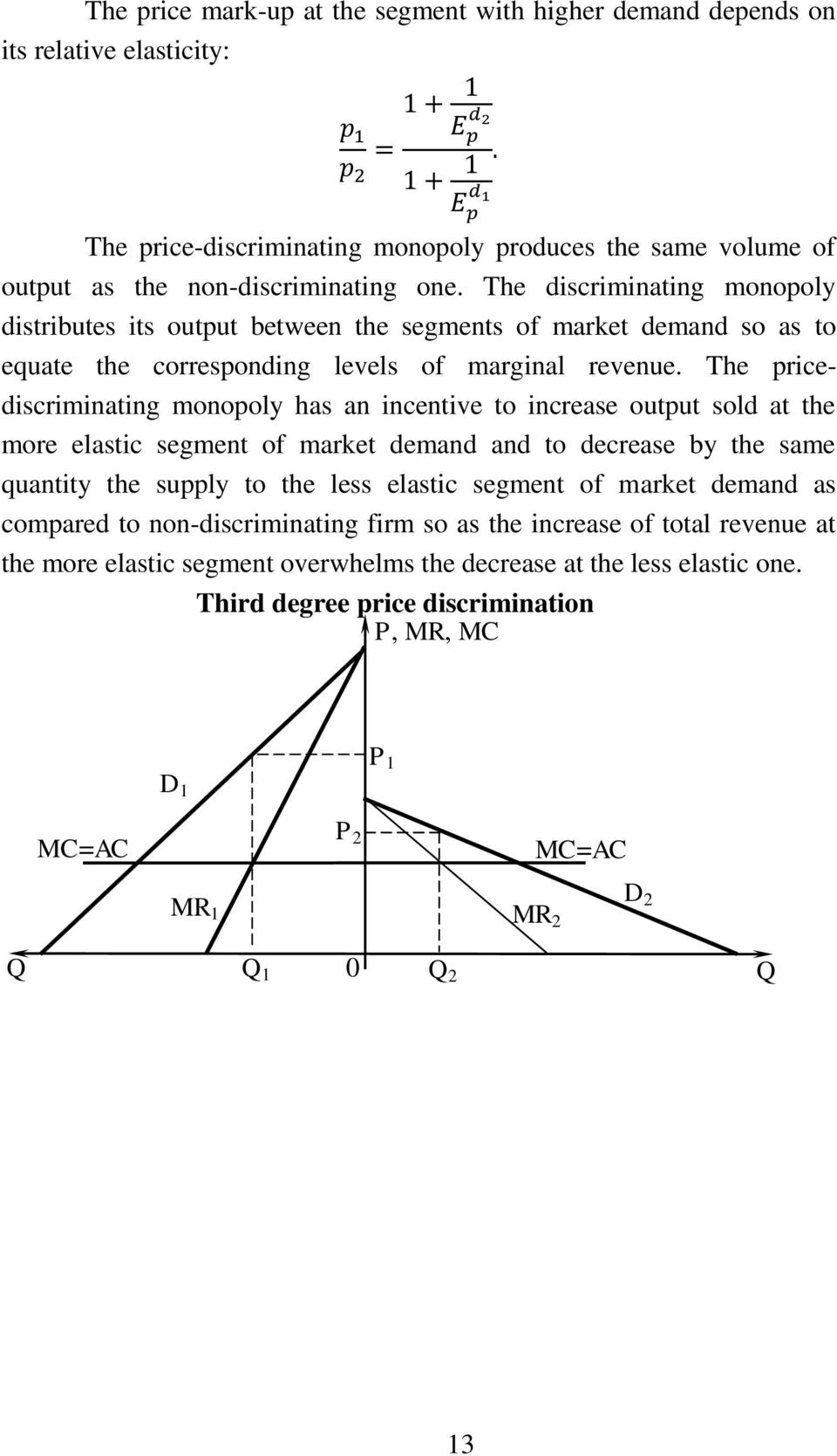The pricediscriminating monopoly has an incentive to increase output sold at the more elastic segment of market demand and to decrease by the same quantity the supply to the less elastic segment