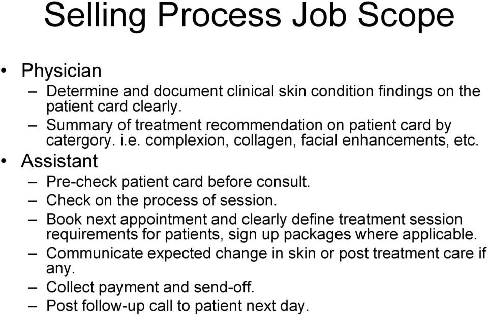 Assistant Pre-check patient card before consult. Check on the process of session.