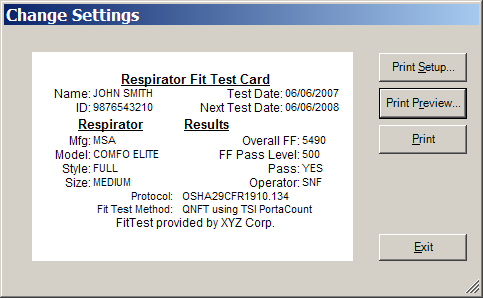 To access the Fit Test Card Options dialog in FITPRO software: 1. Select Setup Global Fit Test Options. 2. Click Fit Test Card Options. The following dialog appears.