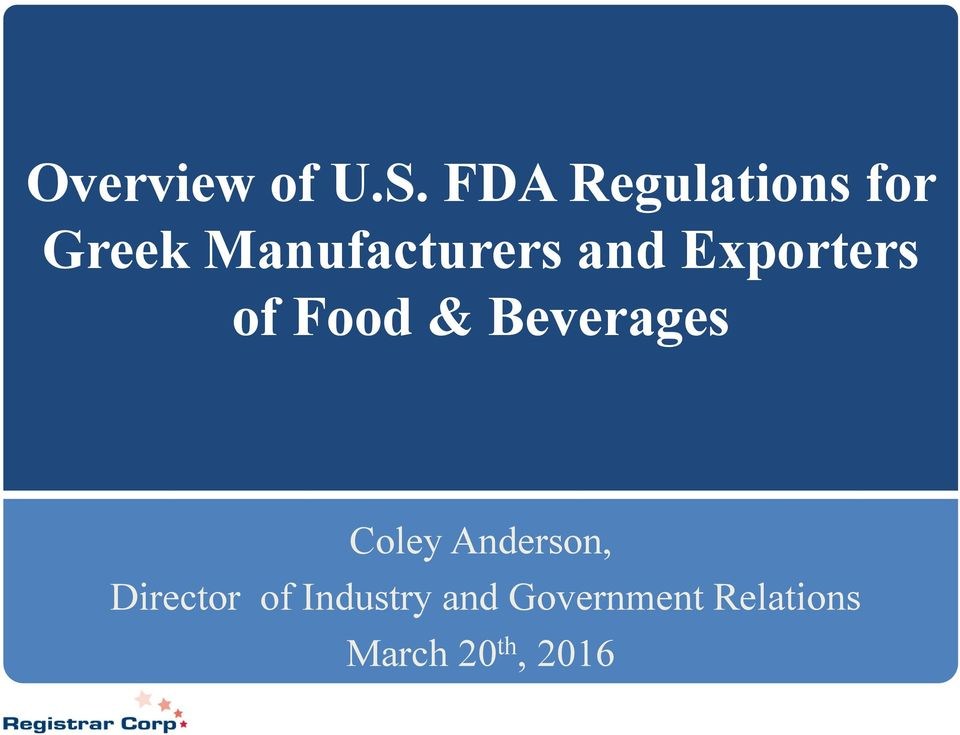 and Exporters of Food & Beverages Coley