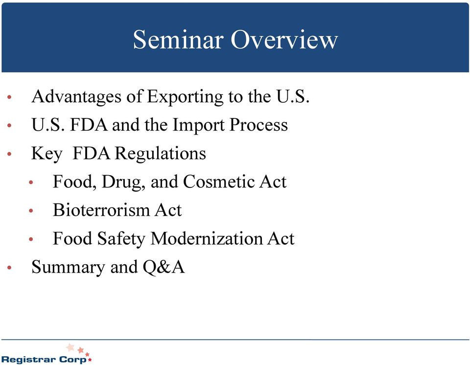 Regulations Food, Drug, and Cosmetic Act