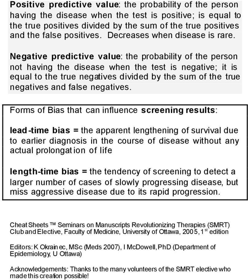 Negative predictive value: the probability of the person not having the disease when the test is negative; it is equal to the true negatives divided by the sum of the true negatives and false