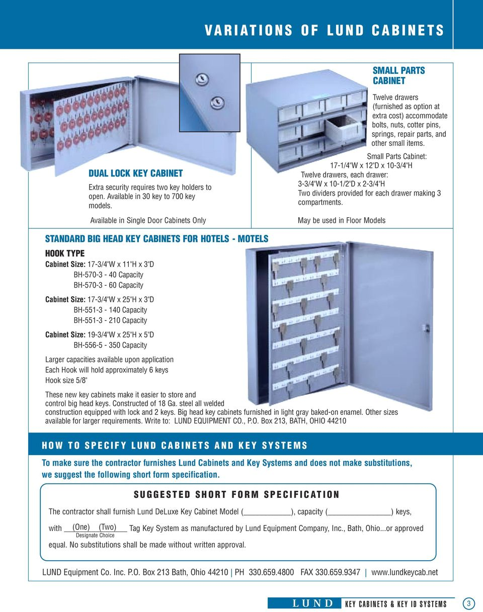 "Small Parts Cabinet: 17-1/4""W x 12""D x 10-3/4""H Twelve drawers, each drawer: 3-3/4""W x 10-1/2""D x 2-3/4""H Two dividers provided for each drawer making 3 compartments."
