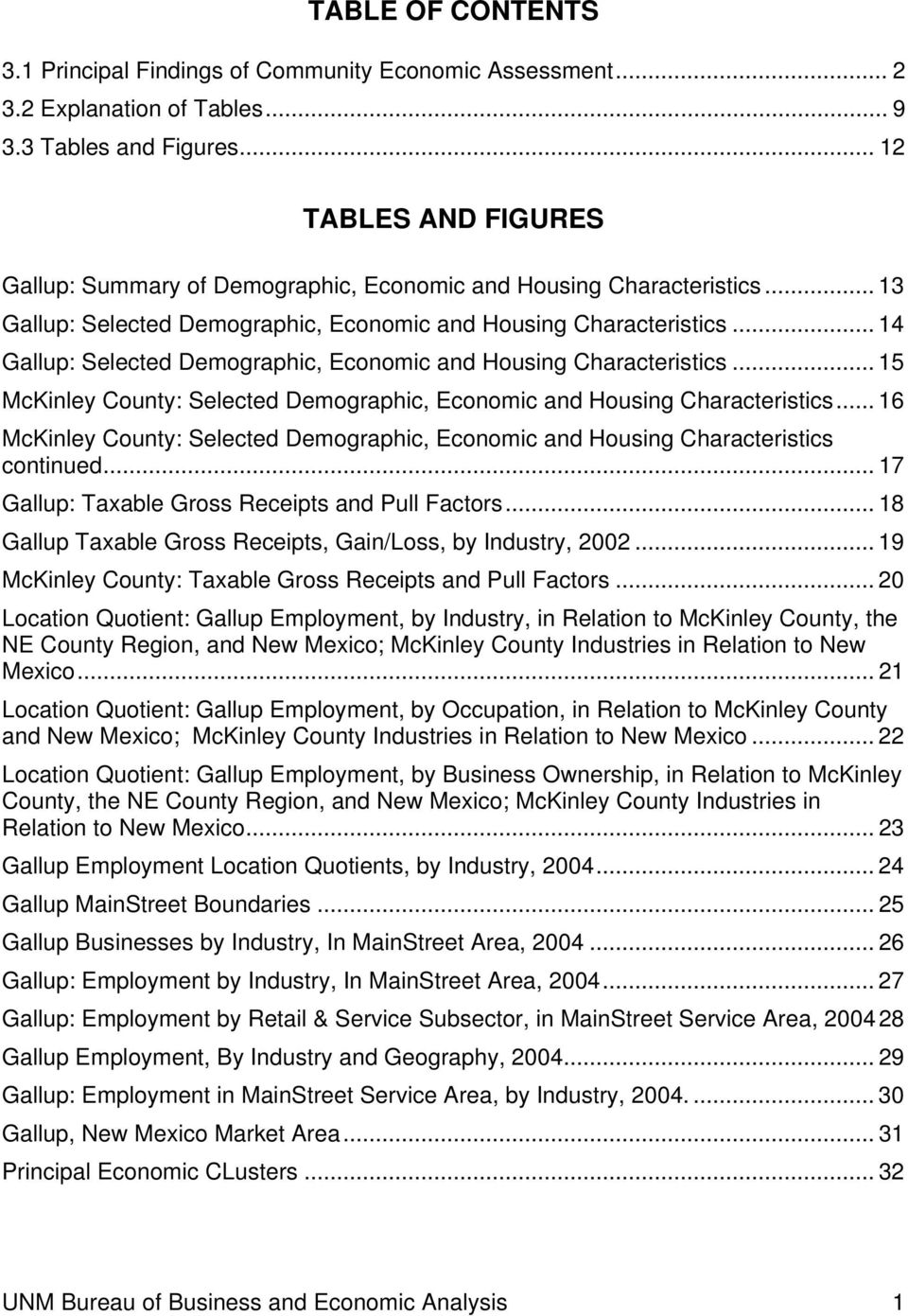 .. 14 Gallup: Selected Demographic, Economic and Housing Characteristics... 15 McKinley County: Selected Demographic, Economic and Housing Characteristics.