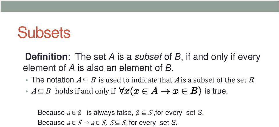 The notation A B is used to indicate that A is a subset of the set B.