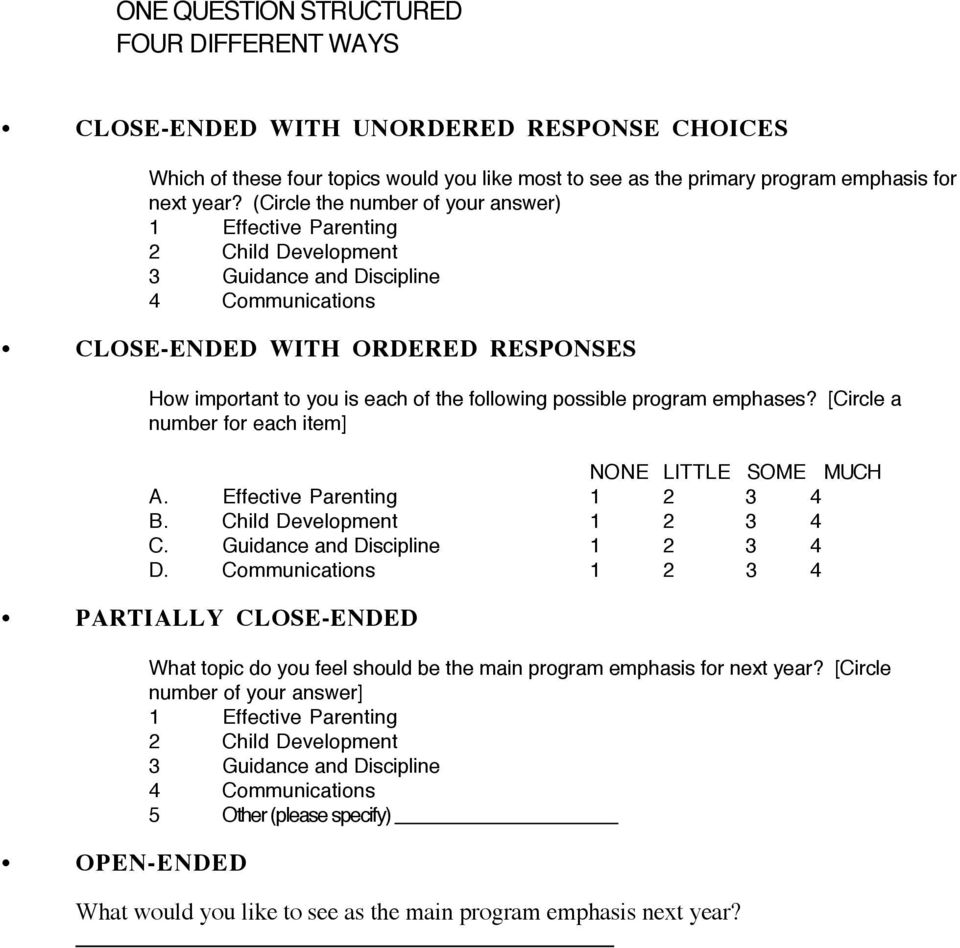 open ended vs closed ended questions pdf
