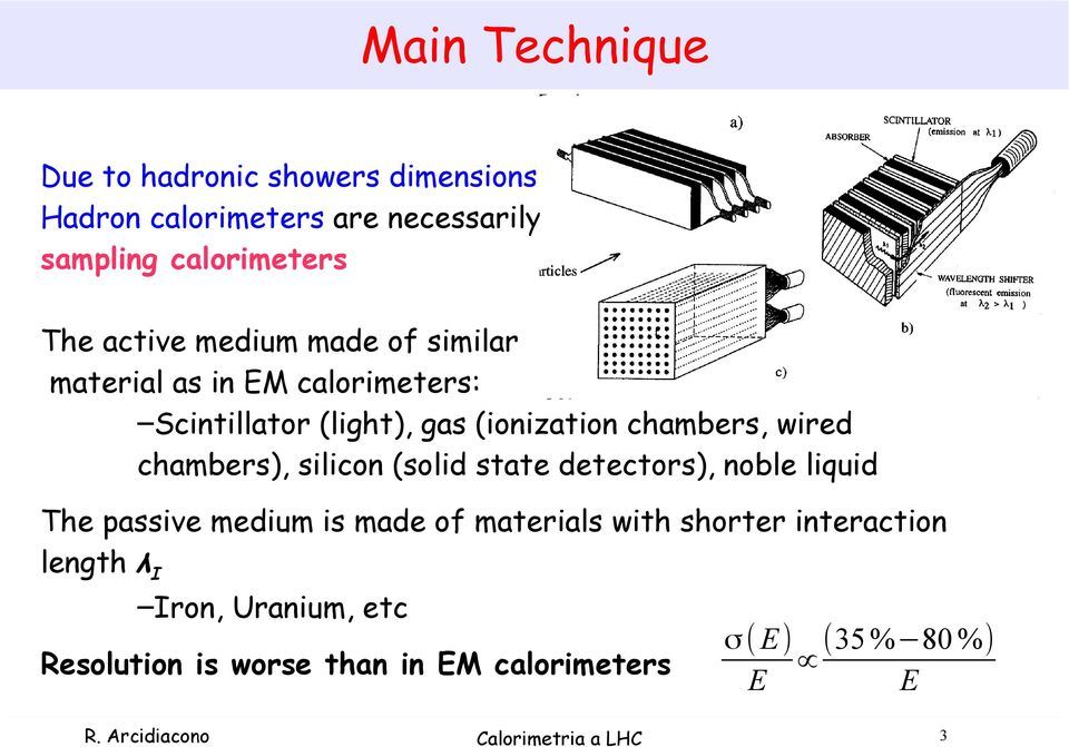 silicon (solid state detectors), noble liquid The passive medium is made of materials with shorter interaction length λ