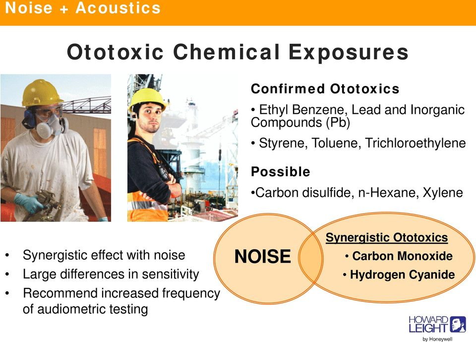 Carbon disulfide, n-hexane, Xylene Synergistic effect with noise Large differences in sensitivity