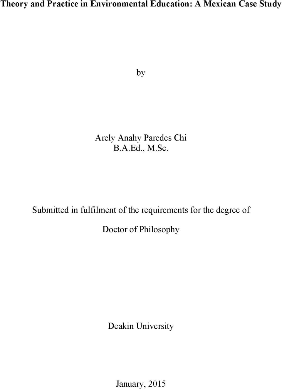 a thesis submitted in partial fulfillment of the requirements for the degree of doctor of philosophy