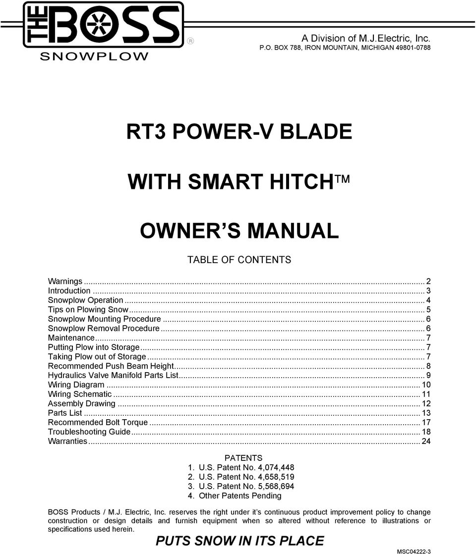 bos rt3 wiring diagram: rt3 power-v blade with smart hitch owner s  manual