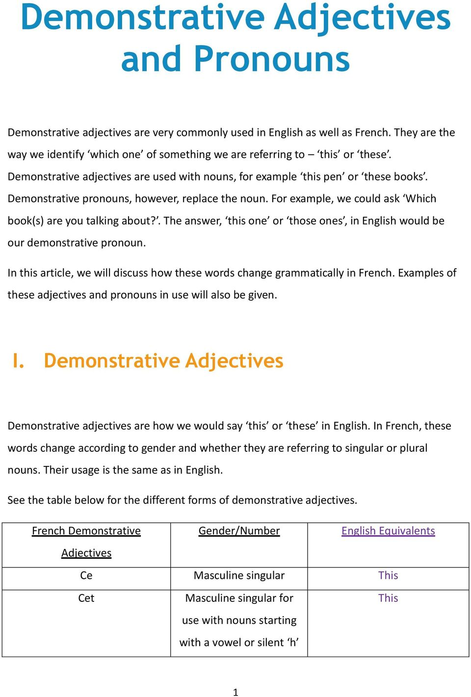Demonstrative pronouns, however, replace the noun. For example, we could ask Which book(s) are you talking about?. The answer, this one or those ones, in English would be our demonstrative pronoun.
