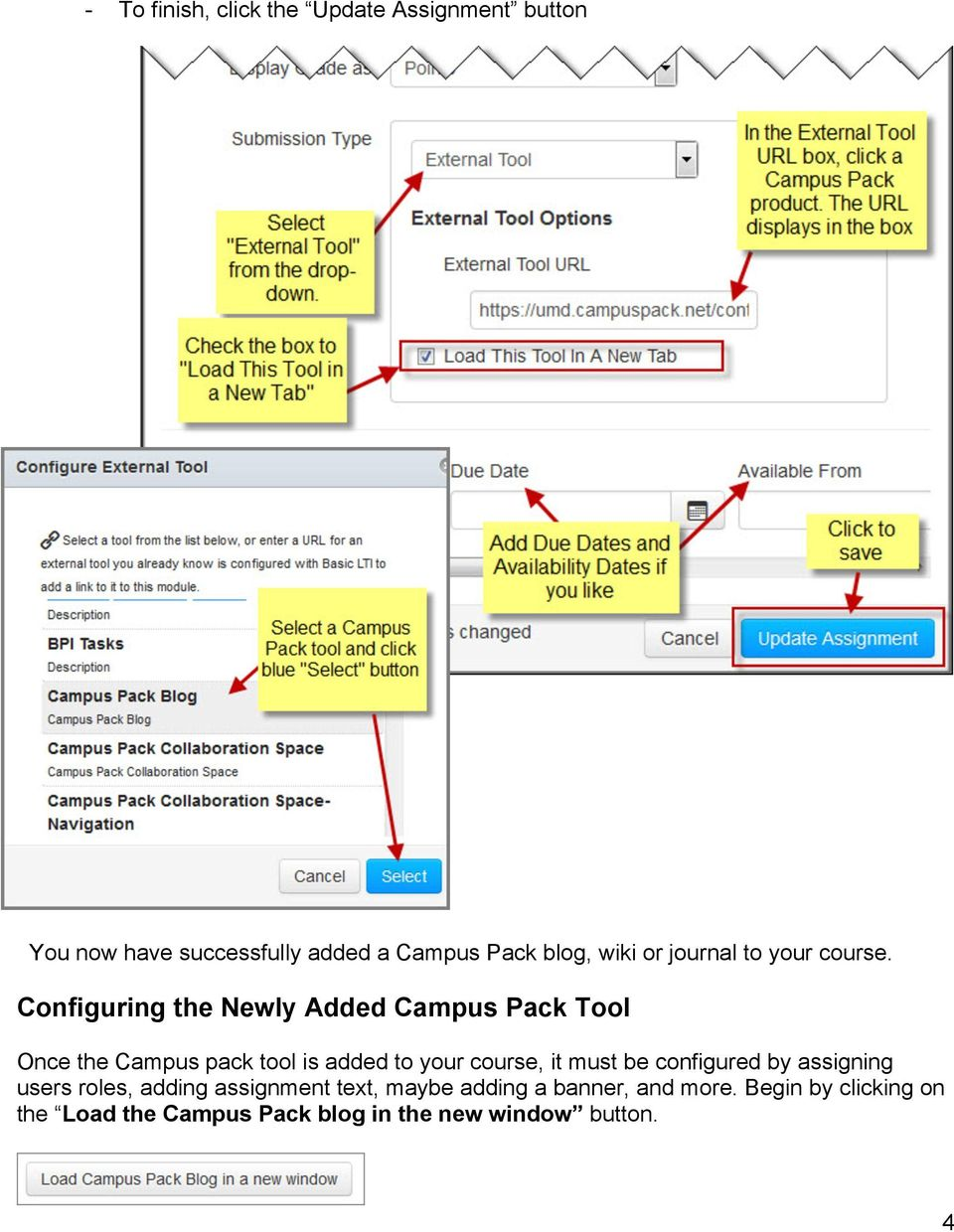 Configuring the Newly Added Campus Pack Tool Once the Campus pack tool is added to your course, it