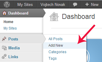 6. Add a new post Go back to Dashboard. In the menu on the left, click Posts and Add New. (See fig. 8) The page for adding new posts looks very similar to the one for adding new pages.