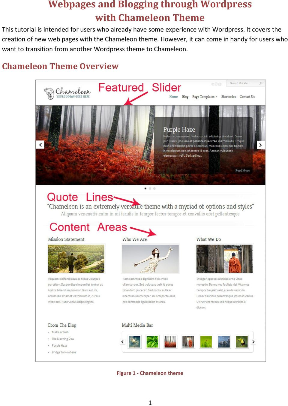 It covers the creation of new web pages with the Chameleon theme.