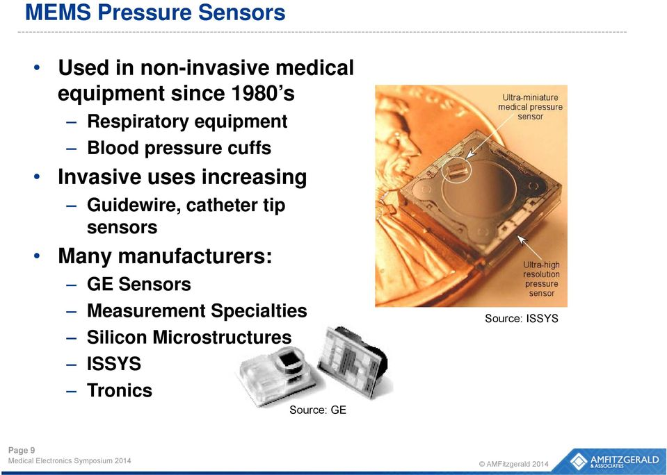 Guidewire, catheter tip sensors Many manufacturers: GE Sensors Measurement