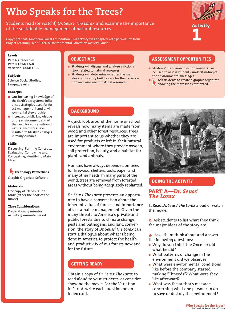 """ Activity 1 Levels Part A: Grades 2-8 Part B: Grades 6-8 Variation: Grades 4-6 Subjects Science, Social Studies, Language Arts Concepts Our increasing knowledge of the Earth s ecosystems influences"