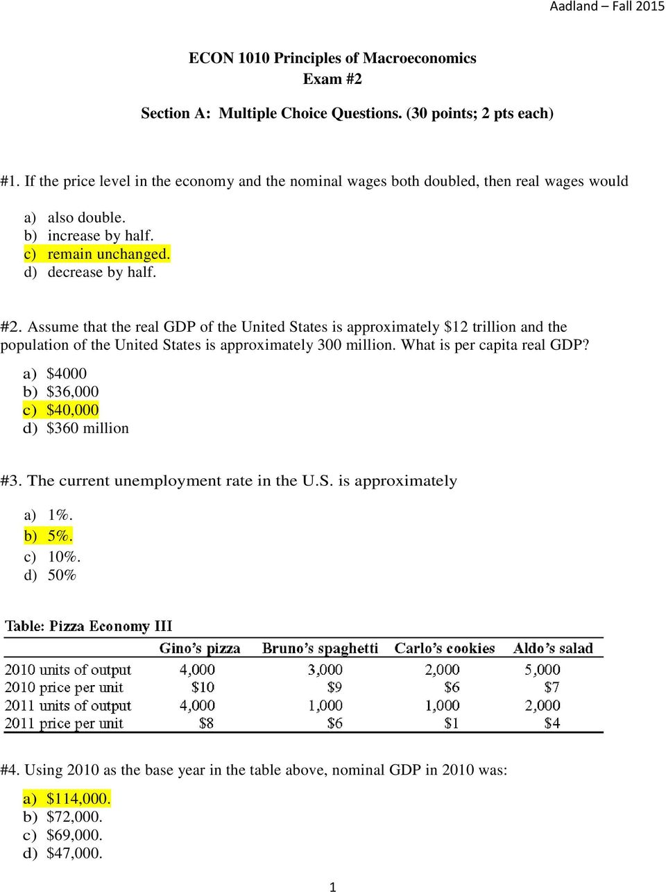 macroeconomics multiple choice questions pdf