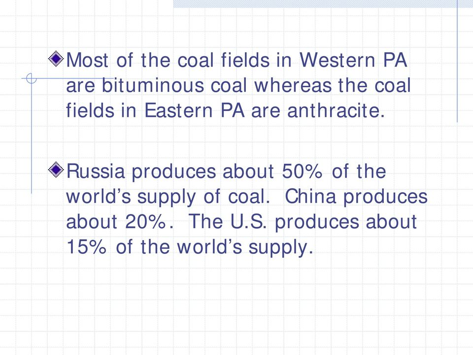 Russia produces about 50% of the world s supply of coal.