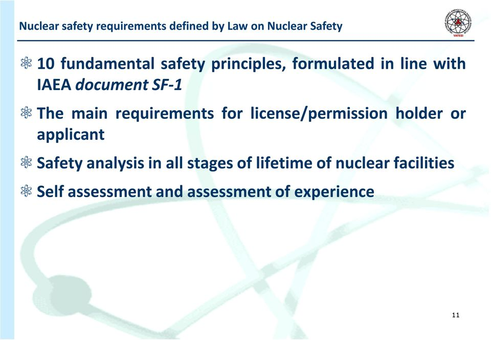 requirements for license/permission holder or applicant Safety analysis in all