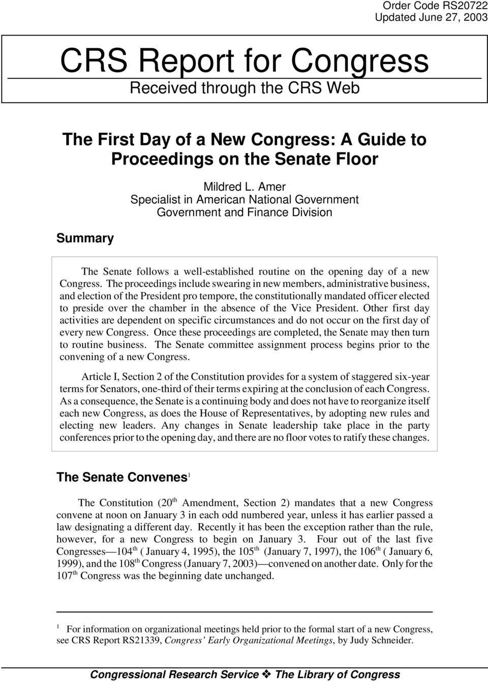 The proceedings include swearing in new members, administrative business, and election of the President pro tempore, the constitutionally mandated officer elected to preside over the chamber in the