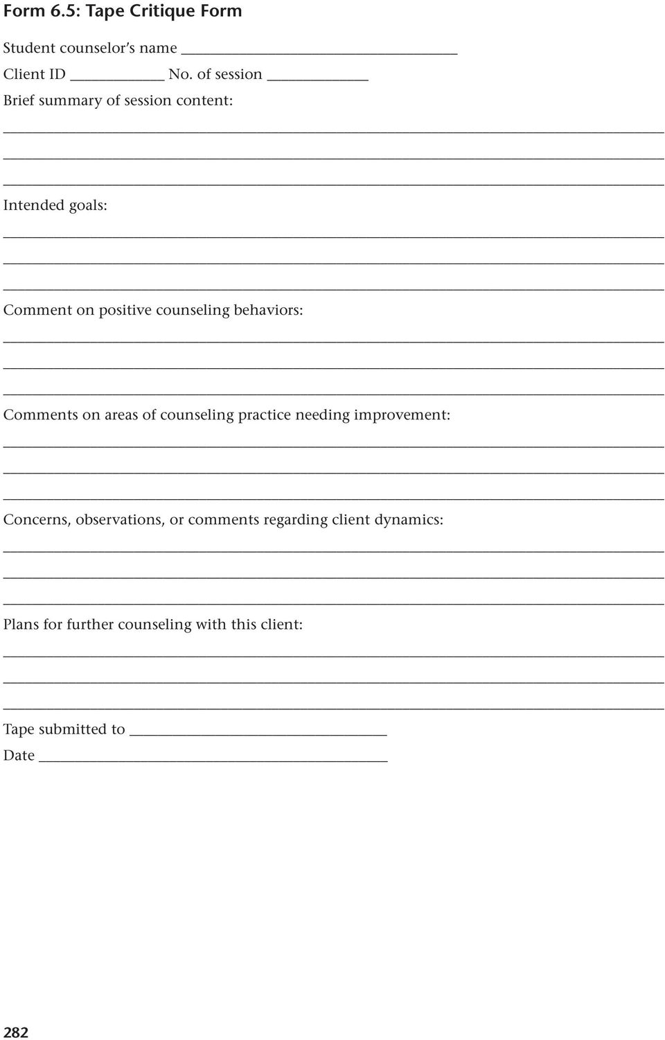 behaviors: Comments on areas of counseling practice needing improvement: Concerns,