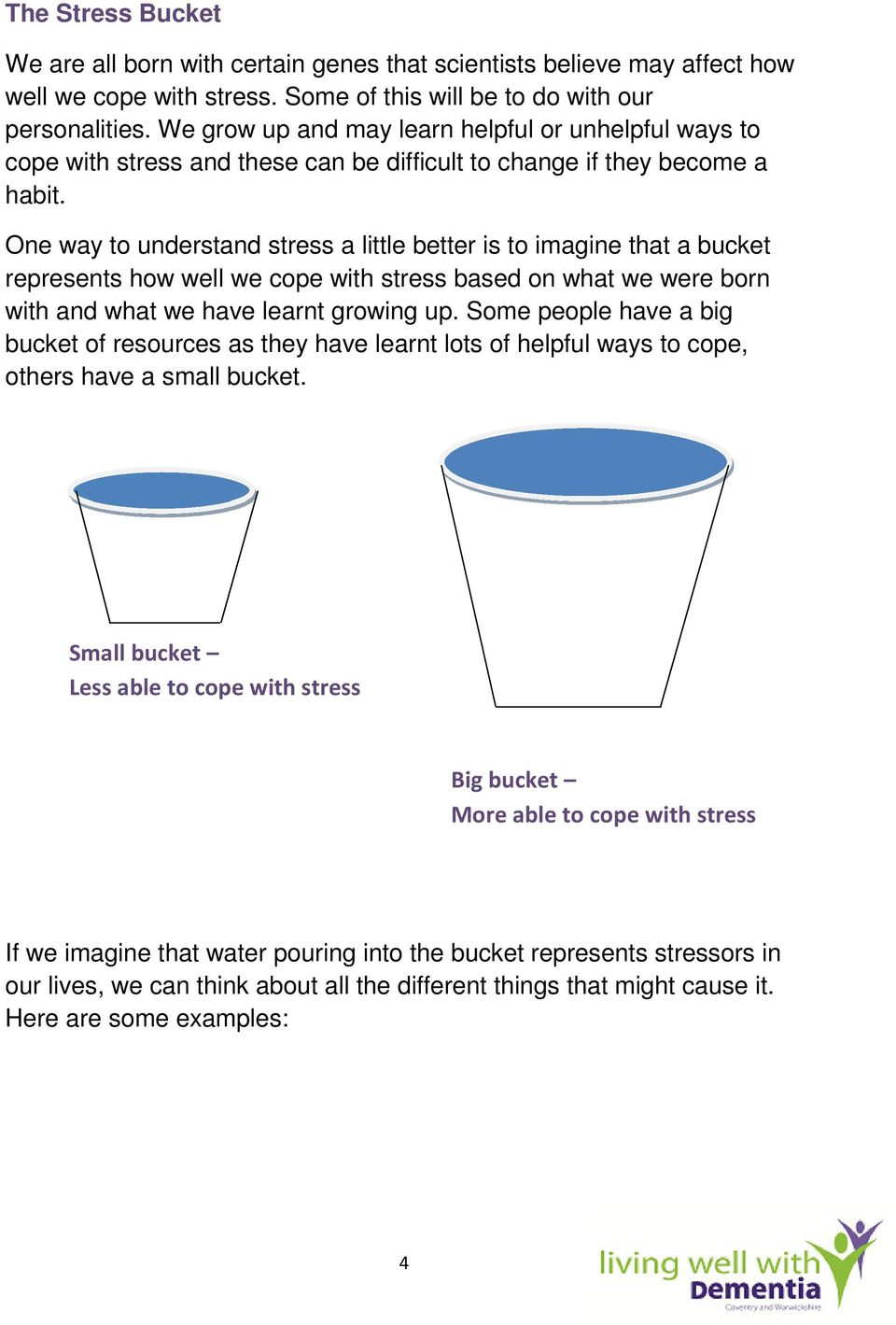 One way to understand stress a little better is to imagine that a bucket represents how well we cope with stress based on what we were born with and what we have learnt growing up.