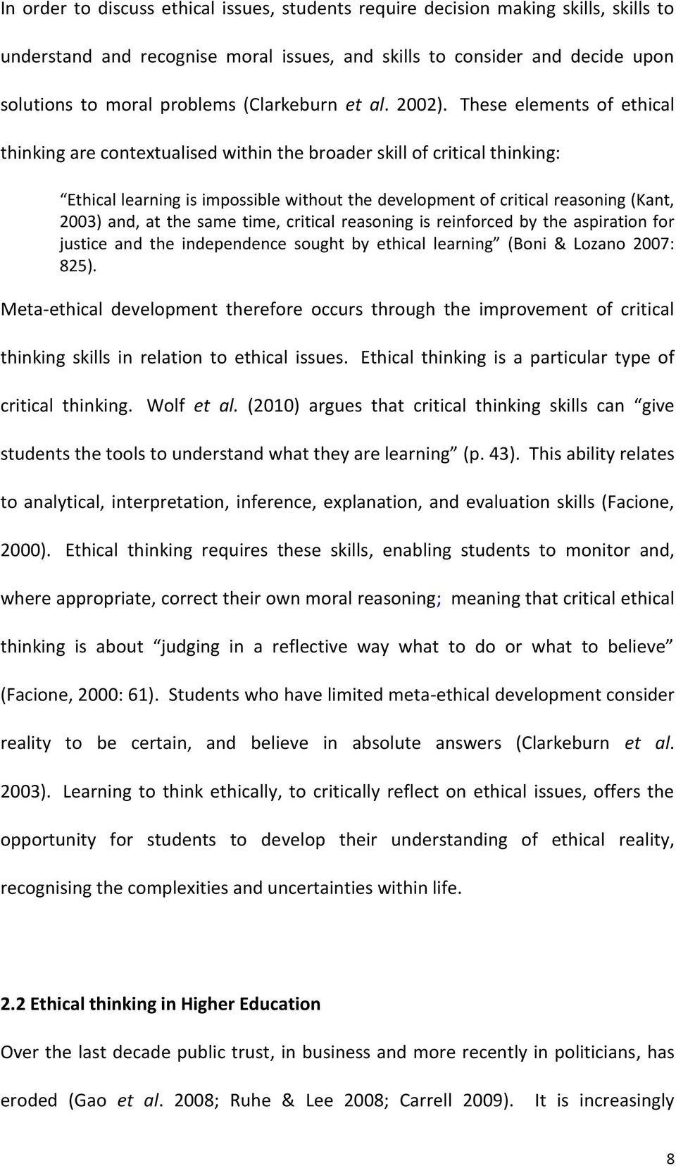 Role of critical thinking in ethics and professional behavior