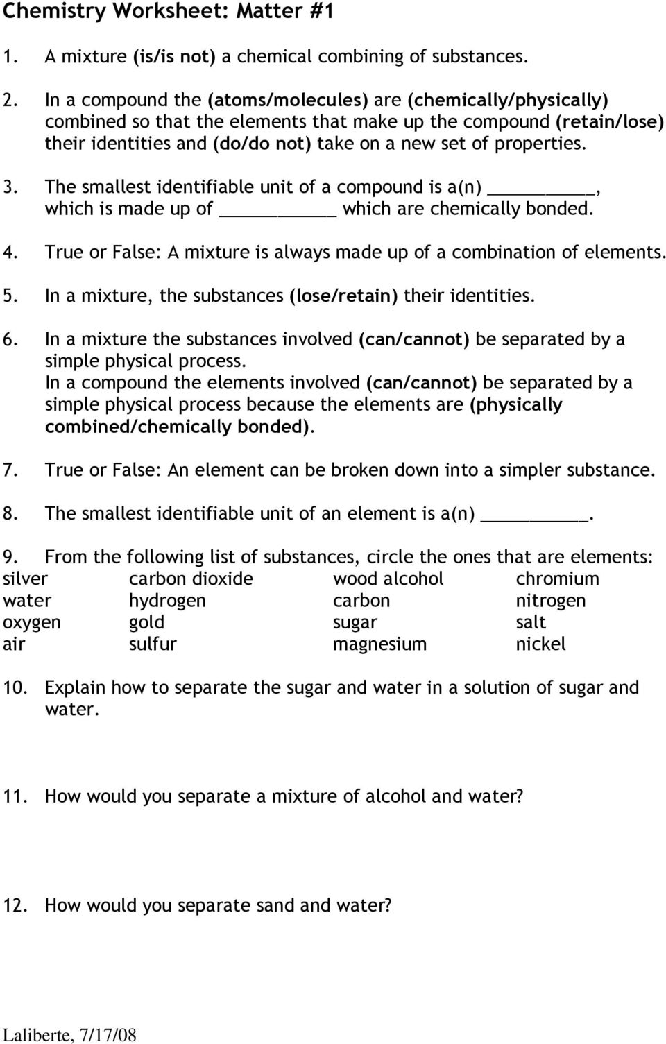 Chemistry worksheet matter 1 answers key