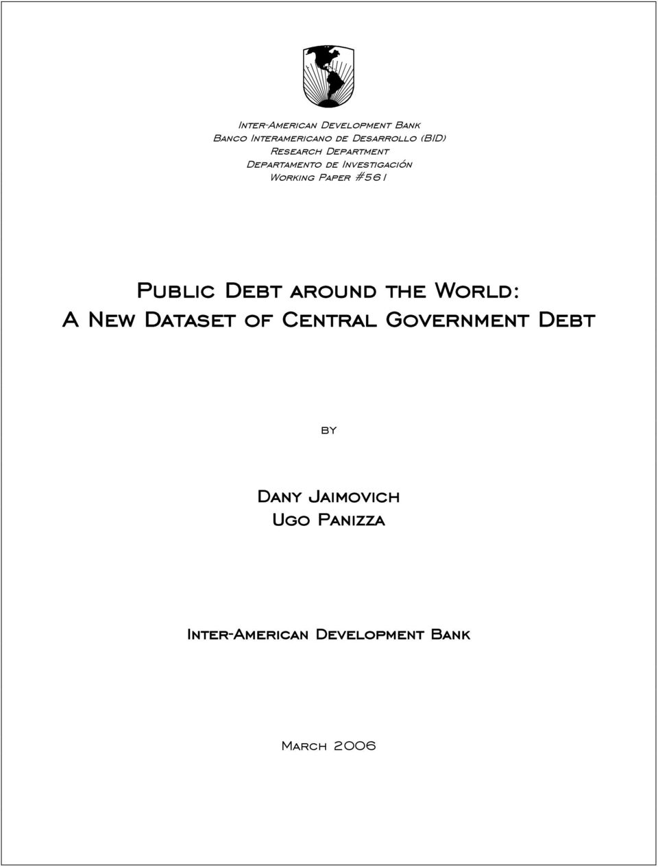 #561 Public Debt around the World: A New Dataset of Central Government