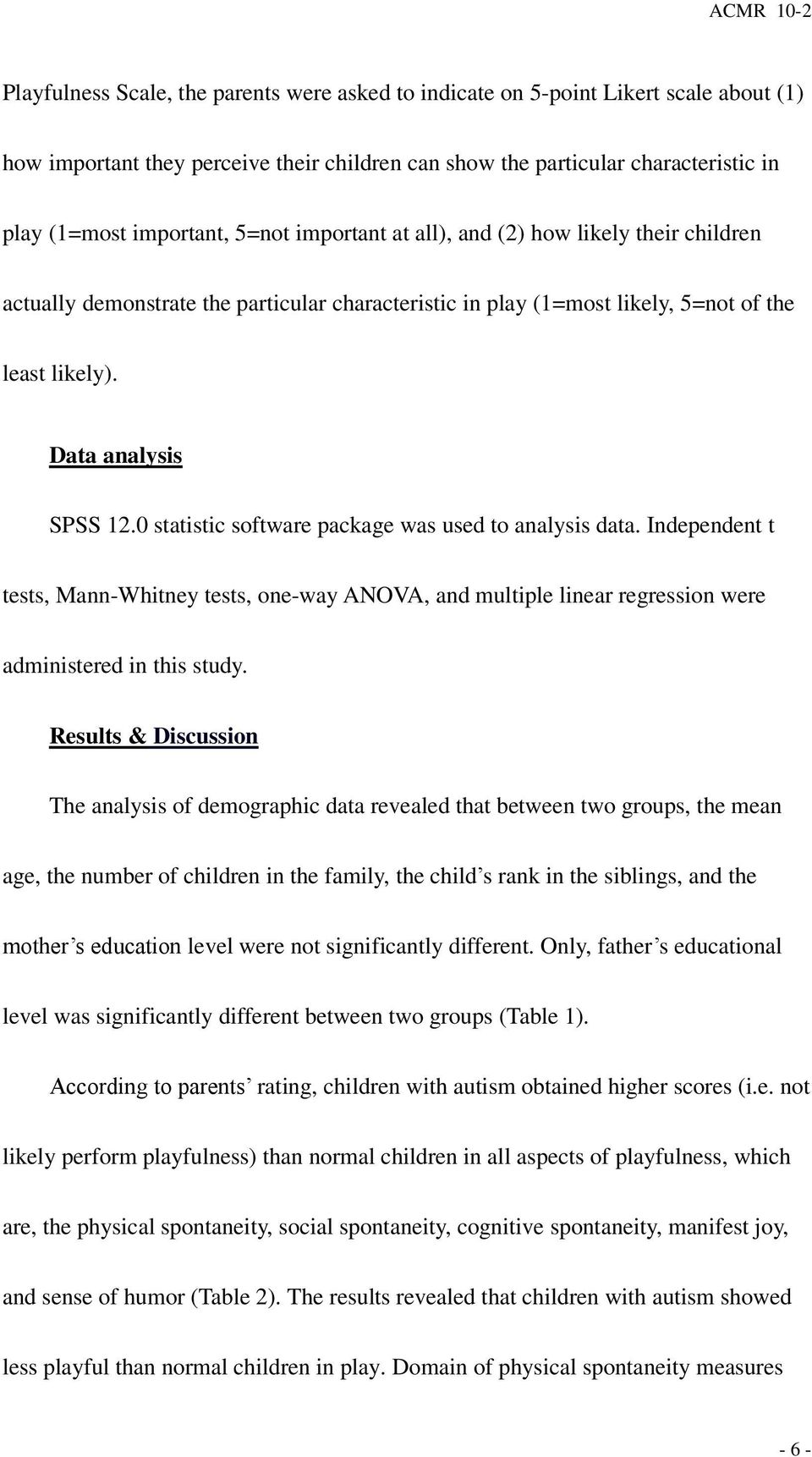 0 statistic software package was used to analysis data. Independent t tests, Mann-Whitney tests, one-way ANOVA, and multiple linear regression were administered in this study.