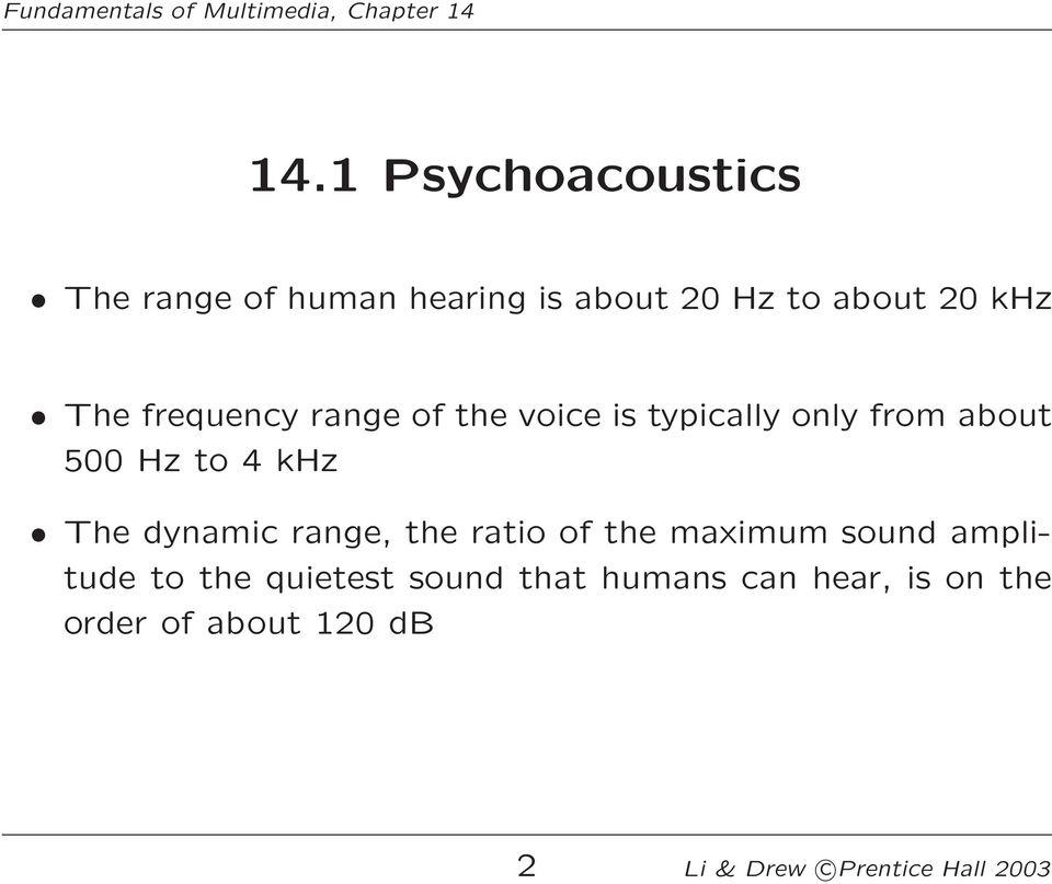 dynamic range, the ratio of the maximum sound amplitude to the quietest sound