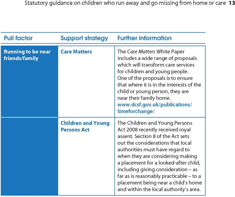 One of the proposals is to ensure that where it is in the interests of the child or young person, they are near their family home. www.dcsf.gov.