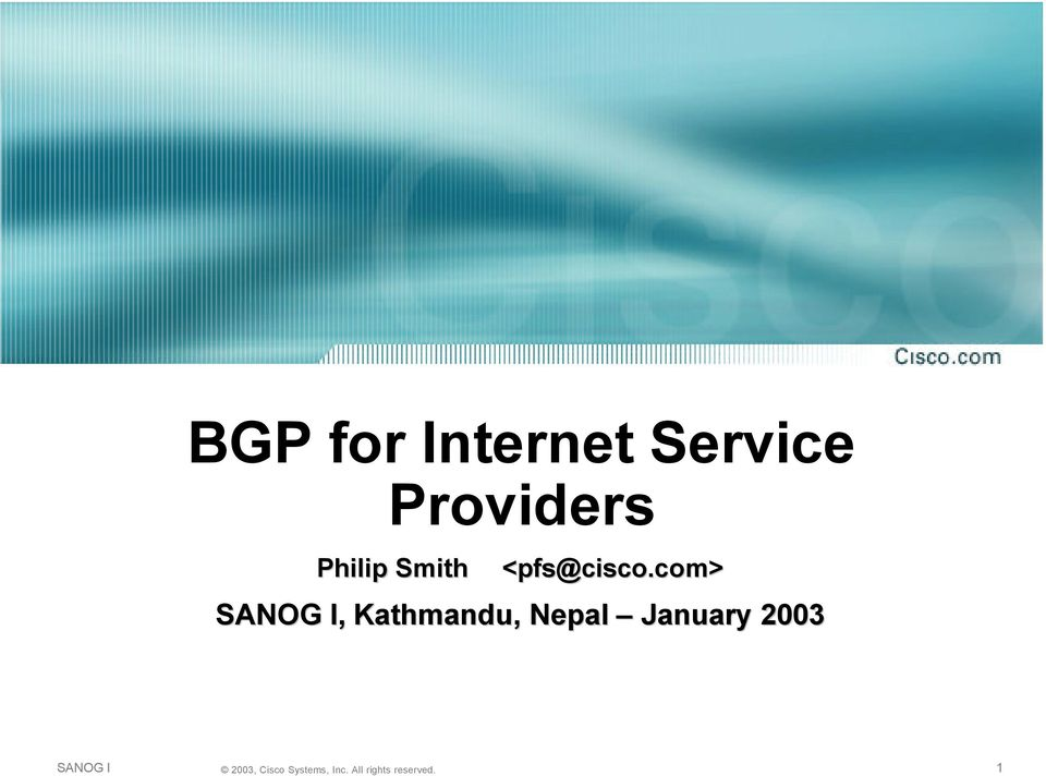 BGP for Internet Service Providers Philip ...