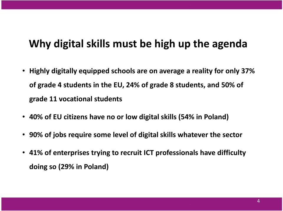EU citizens have no or low digital skills (54% in Poland) 90% of jobs require some level of digital skills