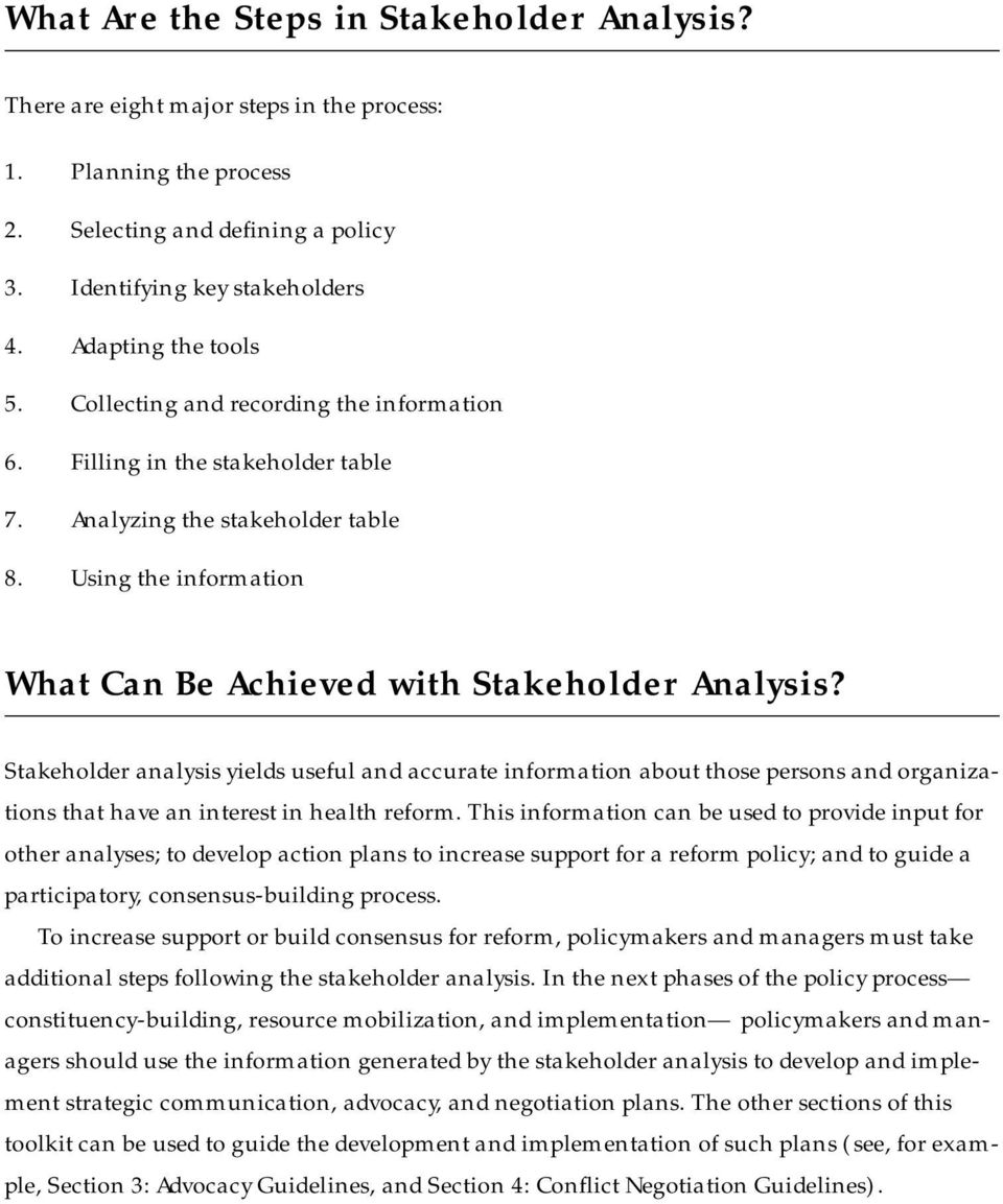 Using the information What Can Be Achieved with Stakeholder Analysis?